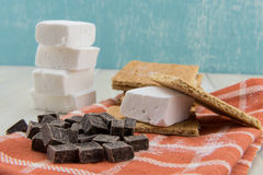 Deconstructed Smore on Orange Napkin Royalty Free Stock Images