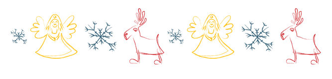 Decor. Red caribou, yellow angel and blue snowflake Royalty Free Stock Photo