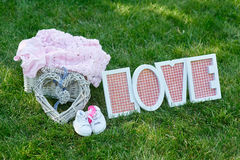 Decor for babies and love letters Stock Image