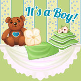 Decor baby cot with pillows and soft bear Stock Photography