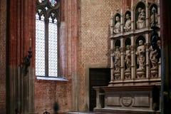 Decor of Basilica Santa Maria Gloriosa dei Frari. VENICE, ITALY - OCTOBER 13, 2016: decor of Basilica Santa Maria Gloriosa dei Frari, Venice. Frari is one of the stock photography