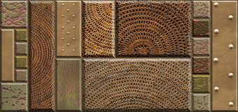 Decor for ceramic tile. Textures of stone, metal rivets, meshy material. Geometric  pattern Royalty Free Stock Images