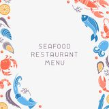 Decor concept with seafood elements and space for your text. Flat style vector illustration. Suitable for advertising or restaurant menu design vector illustration