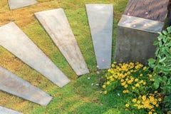 Decor concrete bench in garden Royalty Free Stock Image