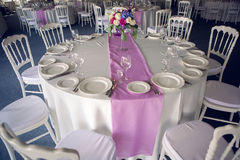 Decor design round table purple lilac stripe in the middle Stock Photo