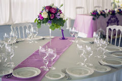 Decor design round table purple lilac stripe in the middle Royalty Free Stock Photo