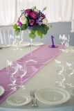 Decor design round table purple lilac stripe in the middle Royalty Free Stock Images