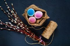 Decor for Easter holidays, a willow branch and decorative colored eggs in burlap on a concrete blue background, top view. Nobody Stock Image