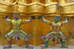 Decor Element of Wat Phra Kaeo, Bangkok, Thailand Stock Photos
