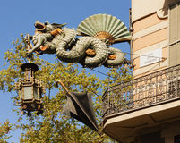 Decor of the facade of the Bruno Quadras Building. Barcelona. Spain. Royalty Free Stock Photography