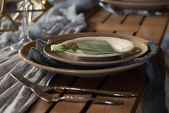 The decor of the festive table. Close-up. The decor of the festive table. Dishes. Close-up Stock Image
