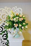 The decor of flowers of the wedding ceremony. In the restaurant Stock Image