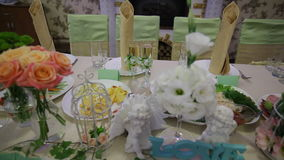 Decor of flowers on wedding table stock footage