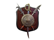 Decor in the form of shields, sword and spears Royalty Free Stock Photo
