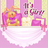 Decor girl room in pink color with soft rabbit Stock Image
