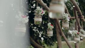 Decor , hanging jars with flowers