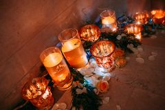 Decor for a holiday candles and rose petals. Decor for a holiday stairs down with candles and rose petals Stock Photo