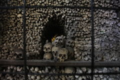 The decor of human skulls and bones in an ossuary Royalty Free Stock Photo