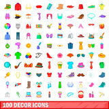 100 decor icons set, cartoon style. 100 decor icons set in cartoon style for any design illustration royalty free illustration