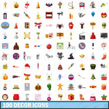 100 decor icons set, cartoon style. 100 decor icons set in cartoon style for any design vector illustration Stock Photo