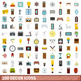 100 decor icons set, flat style. 100 decor icons set in flat style for any design vector illustration Royalty Free Stock Photos