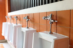 Decor interior of white urinals in men bathroom toilet Stock Image