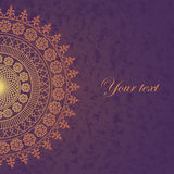 Decor lace on purple background. Old circle lace. Vector Stock Photo