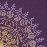 Decor lace on purple background. Old circle lace. Vector Stock Illustration