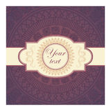 Decor lace on purple background. Old circle lace. Vector Royalty Free Illustration
