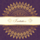 Decor lace on purple background. Old circle lace. Vector. invitation Royalty Free Illustration