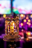 Decor for a large party or gala dinner. Purple and red decor with candles and lamps for corporate event or gala dinner Stock Photo