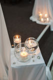 Decor of the many candles in water Stock Photo