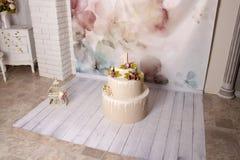 Decor met cake voor a stock afbeeldingen