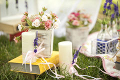 Decor on nature. Design a picnic on the grass Stock Photography