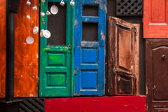 The decor of the old door. Colorful old door as a decoration Royalty Free Stock Photo