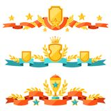 Decor with ribbons and awards in flat design style Royalty Free Stock Images