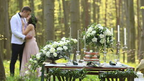 Decor romantic dinner for lovely couple in love in the green spring forest. Beautiful bride and groom kiss and feel. Happiness stock video