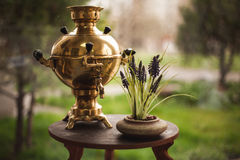 The decor of samovar on table Royalty Free Stock Photography