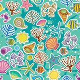 Decor of the sea creatures and seaweed Royalty Free Stock Photo