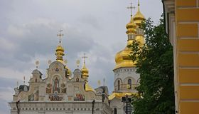 The decor of the upper part of the Assumption Cathedral. Of the Kiev-Pechersk Lavra stock photography