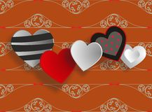 Decorated hearts Stock Photos