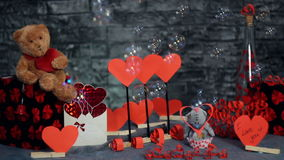 Decor for Valentine`s Day with soap bubbles stock video