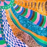 Decor van zijdesjaal in batiktechniek die wordt getrokken Stock Fotografie