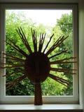 Decor -wooden sun on window, Lithuania stock photos