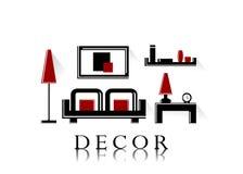 Decor. Word decor and modern furniture stock illustration