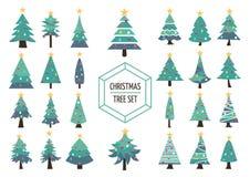 Decoração ajustada do feriado do ícone do pinheiro do Natal ilustração royalty free