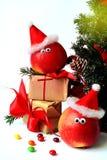Decoração alegre do Natal com maçãs Fotos de Stock Royalty Free