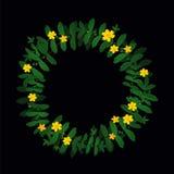 Decoração amarela verde do quadro da beira da grinalda da flor da folha da planta no preto Ilustração Stock