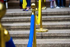 decoração Azul-amarela da entrada Foto de Stock