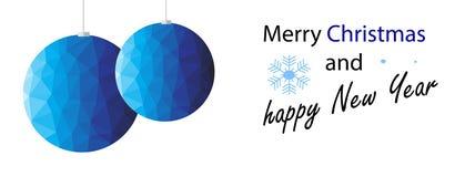 Decoração azul do Natal do polígono ilustração stock